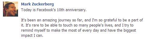 10ème anniversaire de Facebook