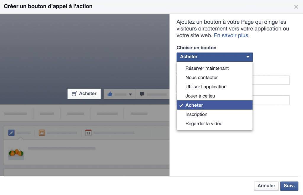 Comment ajouter un call-to-action sur la photo de couverture d'une page facebook ?
