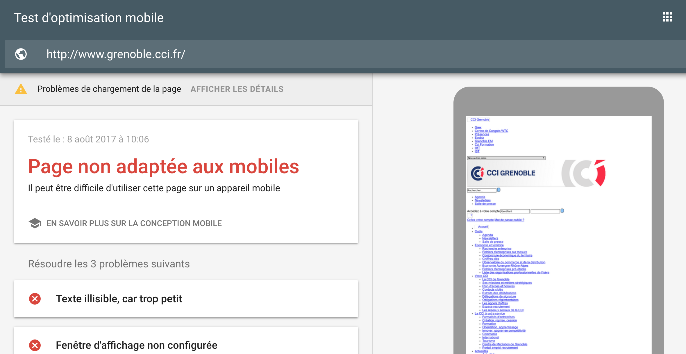 Test d'optimisation mobile de Google, résultats - site web adapté au mobile