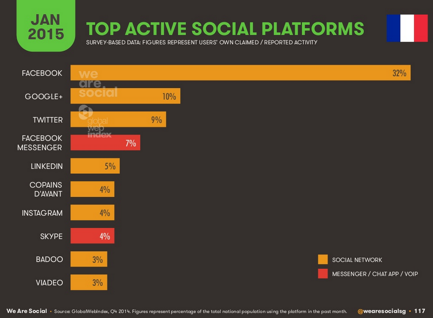 Réseaux sociaux les plus utilisés en France