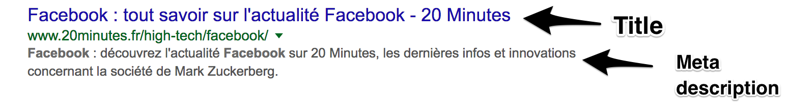 Balise Title et meta description de 20 minutes sur la catégorie Facebook